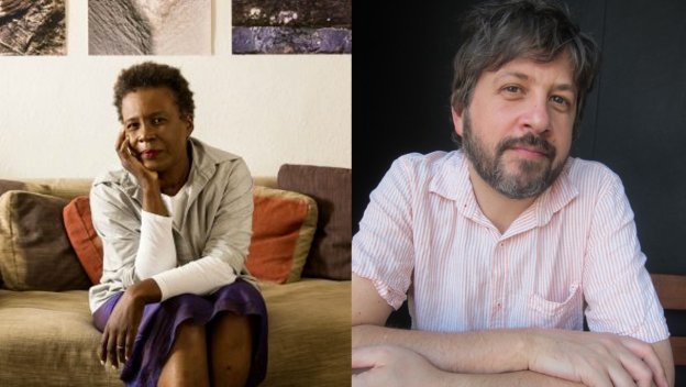 side-by-side images of Claudia Rankine and David Naimon
