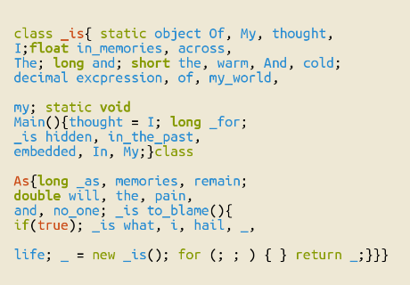 An executable code poem by GreyLau