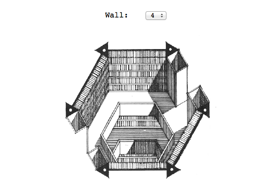 A wall of a hexagonal chamber in the digital Library of Babel