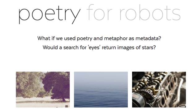 Poetry for Robots landing page