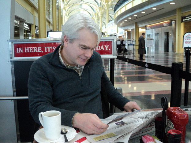 Stephen Brockwell in the Washington Airport : photo credit: rob mclennan