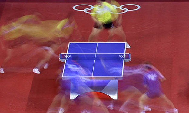 Wang Hao at the 2008 Beijing Olympics. Photograph: Oded Balilty/AP. Courtesy of