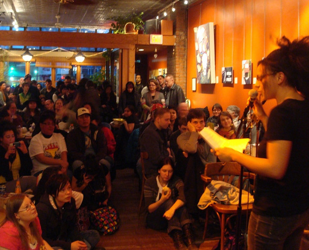 Cecily Nicholson reads at the Rhizome Café in Vancouver