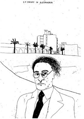 "David Hockney: C. P. Cavafy in Africa, from ""14 Poems from C. P. Cavafy 1966-67"""
