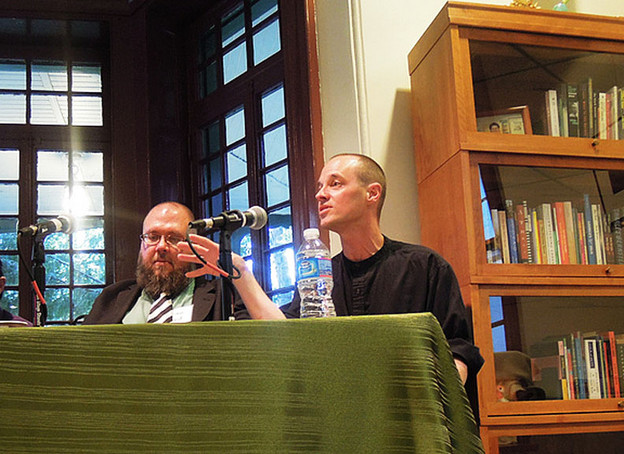 Brian Reed and Craig Dworkin at Kelly Writers House, April 2013.