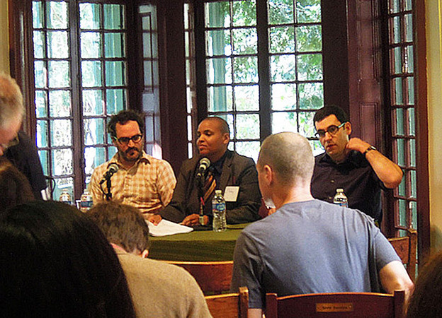 Tom Fisher, Jessyka Finley, and Joshua Kotin at Kelly Writers House, April 2013.