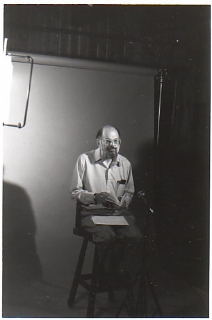 Allen Ginsberg TV/video session, Boulder, CO, 7/86; photo by Chris Funkhouser