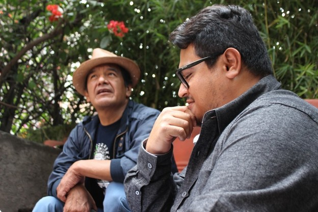 Osiris Anibal Gómez, right, with Mazatec poet Juan Gregorio Regino