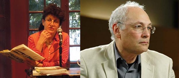 Maggie O'Sullivan at the Writers House; Charles Bernstein.