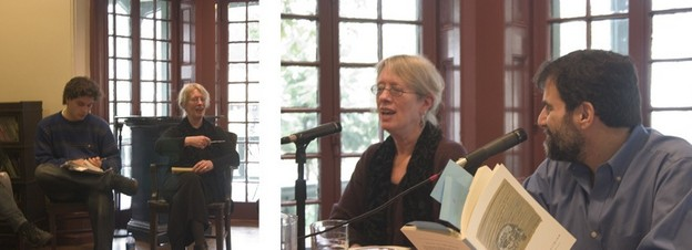 Lyn Hejinian at Kelly Writers House, Philadelphia, 2005: at left, with a student