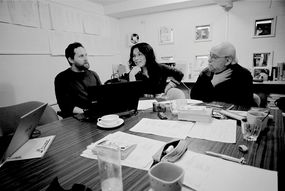 Hiromi Ito and Jerome Rothenberg, with Jeffrey Angles (left)