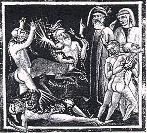 Virgil & Dante in the Hell of Thieves (medieval).