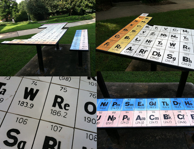 Pictures of the Periodic Table of Elements picnic table outside of the Chemistry