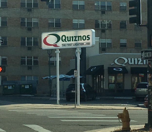 Sign of Quiznos's first location in Denver