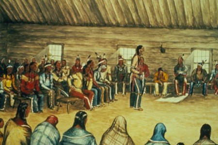 Seneca Prophet Handsome Lake Preaching in the Longhouse.  Watercolor.  Ernest S
