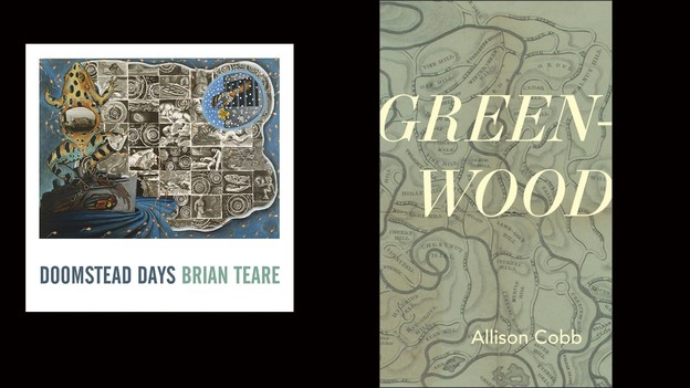 Book covers for Brian Teare's Doomstead Days and Allison Cobb's Green-Wood.