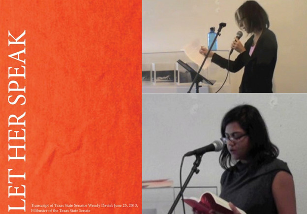 At right: Michele Battiste (top) and Pravithra Prasad (bottom) read from 'Let He