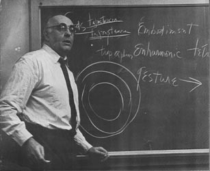Charles Olson at a blackboard