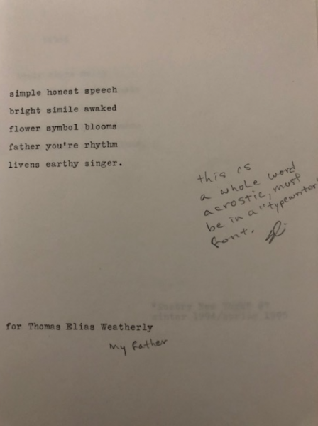 "poem ""simple honest speech"" with handwritten note: ""this as a whole word acrostic, must be in a 'typewriter' font"""