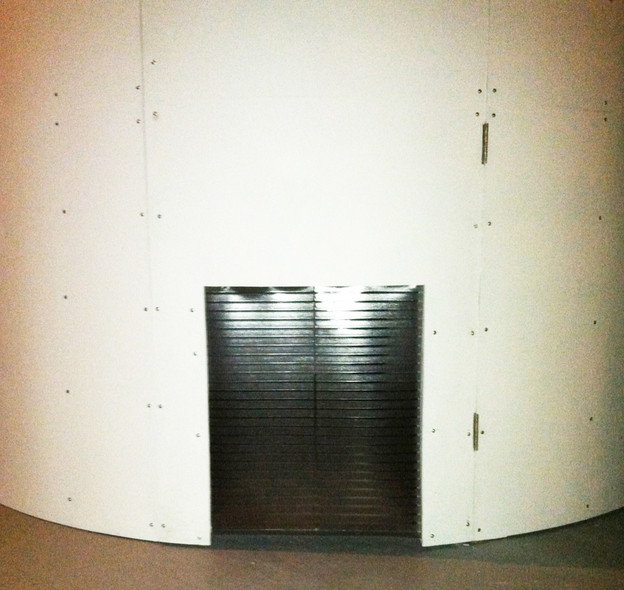 The dog door to the observatory projecting a live-feed of Sirius