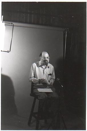 Allen Ginsberg TV/video session, Boulder, CO, 7/86; photo by Chris Funkhouser