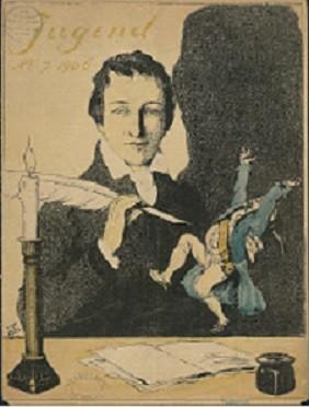 H. Heine (1797-1856) on cover of Die Jugend, 1906